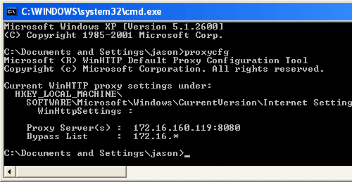 Verify Windows XP default proxy configuration changes